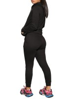 Classic Black Full-Length Pocket Hooded Sport Suit Fashion Trend