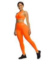 Orange Cropped Sleeveless Back Zip Yoga Workout Outfits Soft-Touch