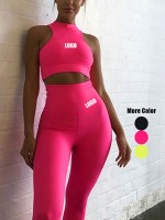 Conservative Pink Zipper Back Tank Sweat Suit High Waist Ladies Grace