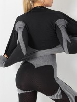 Romance Gray Colorblock Zipper Yoga Suit Cropped For Girls