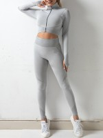 Silver Gray Sweat Suit Stand-Up Collar Wide Waistband Exercise Outfit