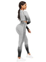 Sensual Black Crop Top Crew Neck High Waist Pants Garment