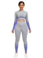 Royal Blue Full Sleeve Top Ankle Length Pants Moisture Wicking