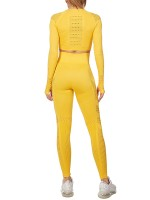 Exotic Paradise Yellow Round Neck Crop Sport Set Mesh Patchwork Breathable