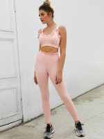 Exotic Pink Adjustable Straps Bra High Waist Leggings Fast Shipping