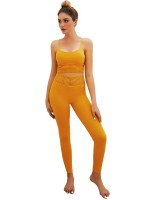 Compression Yellow Yoga Sets Slender Strap Ankle Length For Upscale