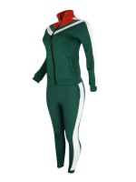 Picturesque Blackish Green Two Pieces Queen Size Stitching Sweatsuit