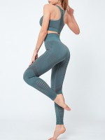 Smoothing Green High Rise Yoga Suit Crop Top Seamless Ultra Hot
