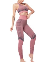 Multi-Function Pink Sports Suit High Waist Full Length Stretchy