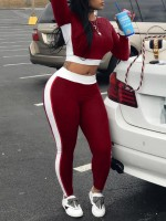 Brilliant Wine Red Round Neck Top Full-Length Legging Set For Fitness