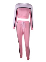 Appealing Pink Long Sleeve Sweat Suit Contrast Color Stretch