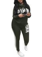 Outdoor Army Green High Neck Top And Sport Pants Big Size Breath