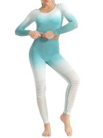 Anti Slip Green Patchwork Seamless Athlete Suit Hollow Fashion