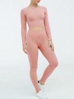 Exquisite Pink Yoga Two-Piece Seamless Ankle-Length Quick Drying