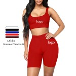 Red Sleeveless Top High Rise Sports Shorts Moisture Management