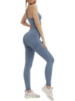 Alluring Blue Active Suit High Waist Full Length Casual Clothes
