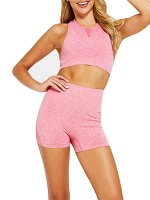 Breathable Pink Solid Color Seamless Yoga Shorts Suit For Woman