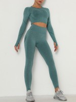 Delicate Green Thumbhole Ankle Length Ruched Sweat Suit Form Fit