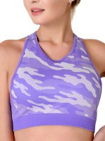 Classic Purple Camouflage Print Sweat Suit Sleeveless Super Sexy