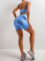 Sparkling Blue Slender Strap Seamless Yoga Shorts Set Woman