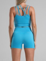 Comfortable Blue Running Suit Patchwork Strap Seamless Motion Control