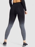 Black Gradient Seamless Yoga Suit Back Ruched For Workout