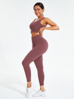 Purplish Red Crew Neck Pleated Solid Color Sweat Suit Free Time