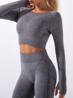 Deep Gray Back Hollow Seamless Sportswear Suit Exercise Outfit