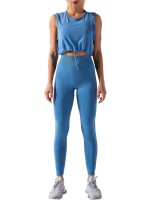 Sky Blue Running Suit Ruched Round Collar Seamless For Fitness