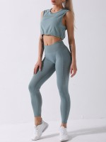 Green Athletic Suit Cropped Spot Print Pleated Slimming Fit