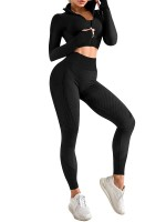 Black 3 Pcs Sports Suit Solid Color Ankle Length Breathable