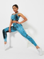 Blue High Waist Tie-Dyed Print Yogawear Suit Athletic Comfort