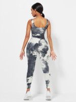 White Tie-Dyed Print Yoga Suit Detachable Pads Eye Catcher
