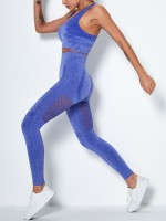 Blue Solid Color Mesh Splice Seamless Yogawear Outdoor Activity