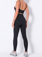 Black Solid Color Seamless Backless Yoga Suit Sexy Ladies
