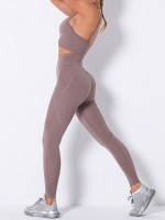 Pink High Waist Seamless Pockets Sports Suit Casual Wear
