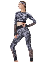 Gray Camouflage Print Hollow Out Sweat Suit Fashion Forward