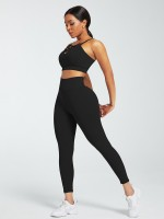 Black Adjustable Straps High Waist Athletic Suit Stretched
