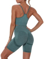 Green Running Suit Seamless Strap Solid Color Latest Fashion