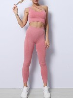 Red Solid Color Slanting Straps Yoga Wear Suit Newest Fashion