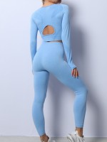 Blue Back Hollow Knitted Seamless Yogawear Suit For Running Girl
