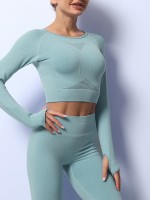 Blackish Green Long Sleeves Thumb Hole Seamless Yoga Suit Free Time