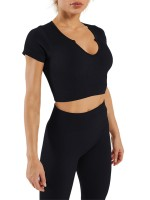 Black Seamless Solid Color Low-Cut Neck Yoga Suit Weekend Time