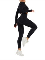 Black Thumbhole Cropped Top High Rise Leggings For Exercising