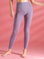 Enthusiastic Deep Purple Solid Color Pockets High Rise Leggings Fashion