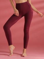 Delightful Wine Red Solid Color Yoga High Rise Leggings Slimming Fit