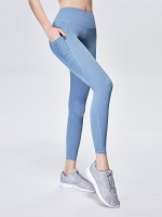 Ultra Stretchy Blue Mesh Patchwork Leggings Ankle Length Fashionable Design