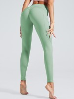 Surfing Green Tummy Control Full Length Yoga Pants Elasticity Material