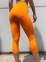 Large Bust Orange Seamless Sports Legging Wide Waistband Elegance