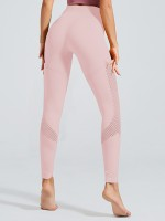 Adorable Light Pink Yoga Leggings Full Length Eyelet Slimming Fit